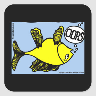 OOPS逆さまにおもしろいな漫画のギフトを採取して下さい スクエアシール