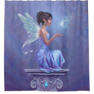 Opaliteの妖精及び青い蝶シャワー・カーテン シャワーカーテン
