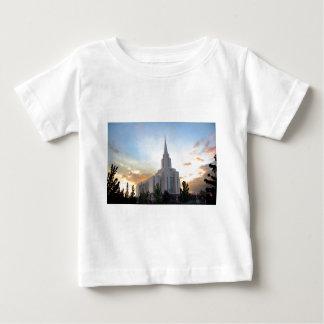 Oquirrh山LDSユタの寺院の日没 ベビーTシャツ