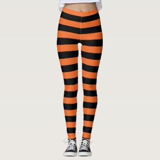 Orange And Black Striped Witch Halloween Leggings レギンス