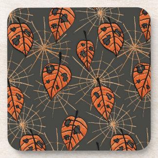 Orange Autumn Leaves Spiderwebs Halloween Pattern コースター