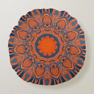 Orange Navy Blue Mandala ラウンドクッション