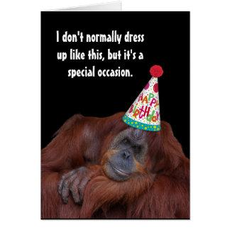 Orangutan Party Hat Happy Birthday カード