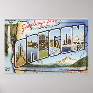 Oregon_Vintage旅行ポスターからの挨拶 ポスター