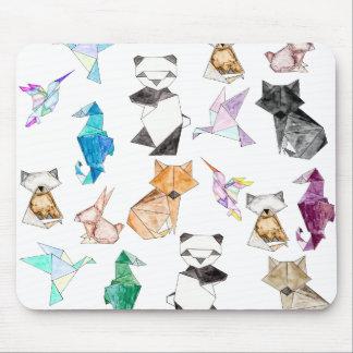Origamiかわいい手描きの幾何学的なペーパー動物 マウスパッド