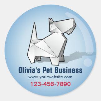 Origamiかわいい犬の青い泡ペットビジネスステッカー ラウンドシール