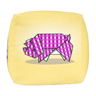 Origamiのかわいいピンクのブタ プーフ