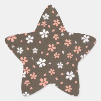 Origamiのピンク及び白い花 星シール