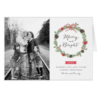 Origamiのプリントによる冬のリースのクリスマスカード グリーティングカード