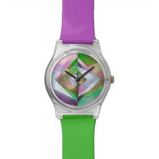 Origamiの空の紫色及び緑の腕時計 腕時計