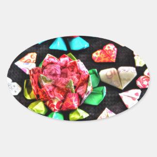ORIGAMIの花及びHERATSの和紙の芸術 楕円形シール