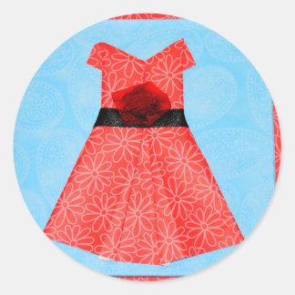 ORIGAMIの赤い服の紙の芸術 ラウンドシール