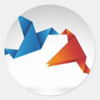 Origamiの鳥のデザイン ラウンドシール