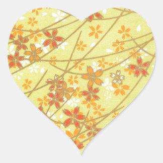 Origami淡黄緑のパターン ハートシール