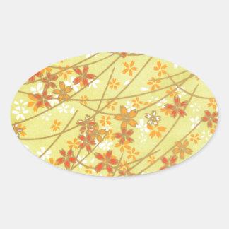 Origami淡黄緑のパターン 楕円形シール
