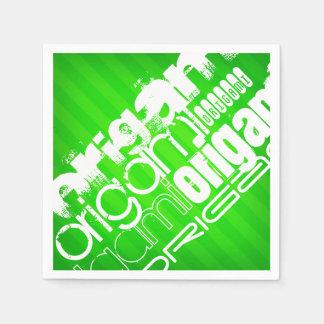Origami; ネオン緑のストライプ スタンダードカクテルナプキン