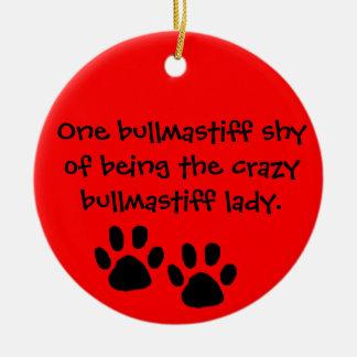 Ornament Bullmastiffの熱狂するな女性 セラミックオーナメント