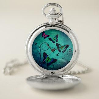 Ornate Aquamarine and Jewel Butterflies ポケットウォッチ