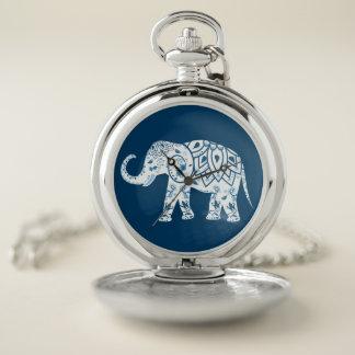Ornate Patterned Blue Elephant ポケットウォッチ