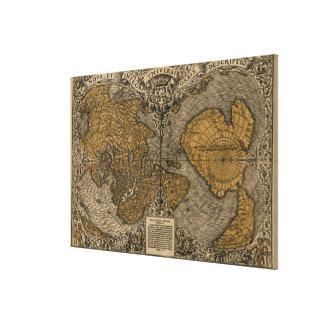 Oronceの罰金によるクラシック1531のアンティークの世界地図 キャンバスプリント