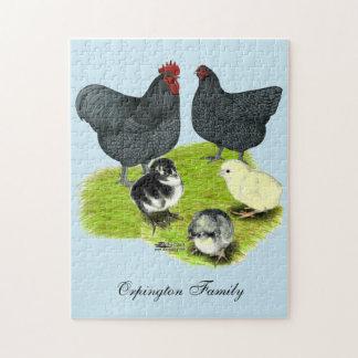 Orpingtonの青い鶏家族 ジグソーパズル