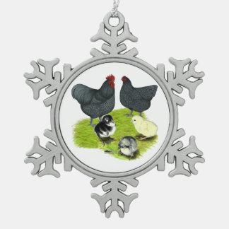 Orpingtonの青い鶏家族 スノーフレークピューターオーナメント