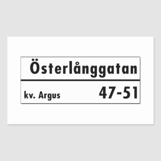 Österlånggatan、ストックホルムのスウェーデンの道路標識 長方形シール