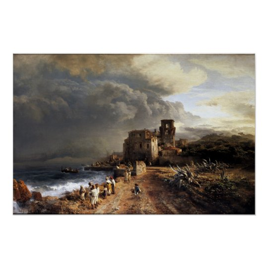 OswaldのAchenbachによって影で覆われる海岸の景色 ポスター