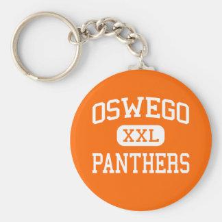 Oswego -ヒョウ-高等学校- Oswegoイリノイ ベーシック丸型缶キーホルダー
