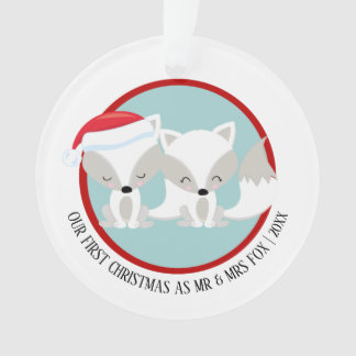 Our First Christmas Arctic Fox Personalized Photo オーナメント
