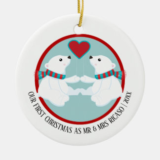 Our First Christmas Polar Bear Personalized セラミックオーナメント