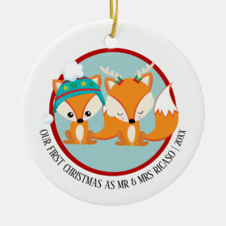 Our First Christmas Red Foxes Personalized セラミックオーナメント