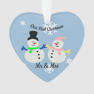 Our First Christmas Snow Couple Heart Ornament オーナメント