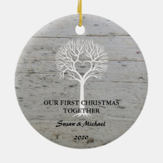 Our first Christmas together love tree driftwood セラミックオーナメント