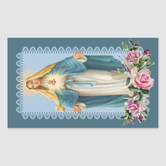 Our Lady of Grace Pink Roses 長方形シール