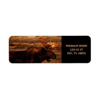 outdoorsmanの動揺してな木製の野性生物の雄牛のアメリカヘラジカ ラベル