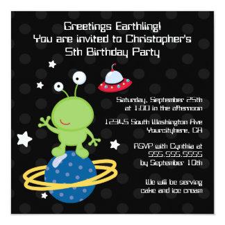 Outerspaceの外国の男の子の誕生日のパーティの招待状 カード