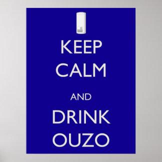 Ouzo穏やか、飲み物保って下さい ポスター