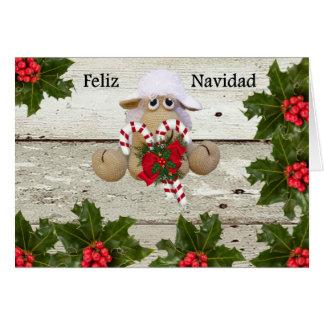 Ovejita de crochet para felicitar la navidad カード