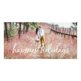 Overlay Lettering Happiest Holidays Photo Card カード