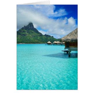 Overwaterのbungows、Bora Boraの礁湖の挨拶状 グリーティングカード