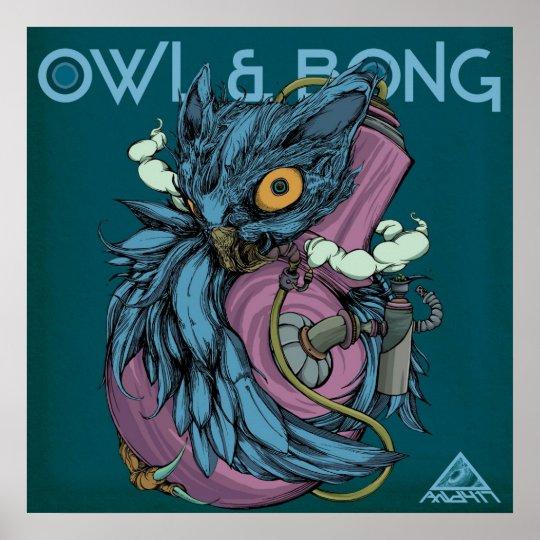 Owl & Bong (Blue) POSTER ポスター