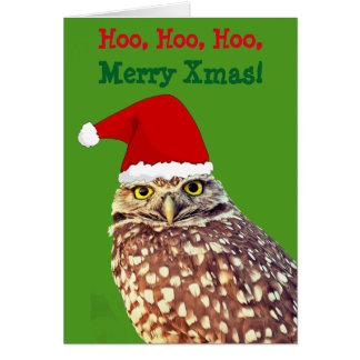 Owl Santa Personalized Christmas Card カード
