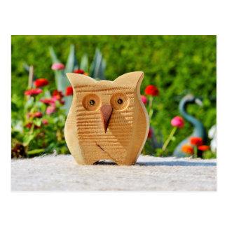 Owl wood postcard ポストカード
