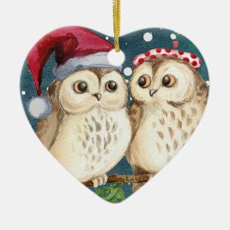 Owls heart Christmas ornament decoration セラミックオーナメント