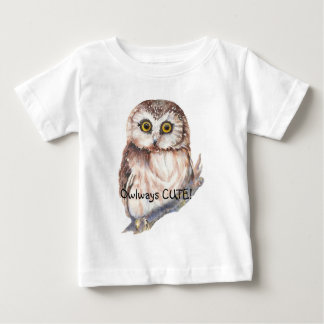 Owlwaysのかわいいおもしろいの引用文の水彩画のコキンメフクロウ ベビーTシャツ