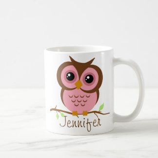 Owlyのピンクの名前入り コーヒーマグカップ