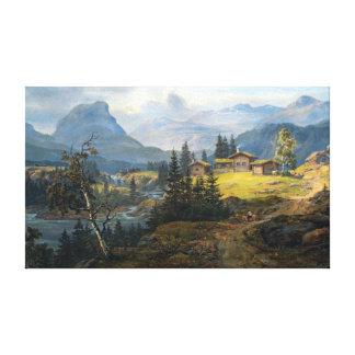 Øyloの農場、Valdresのヨハンキリスト教のDahlの眺め キャンバスプリント