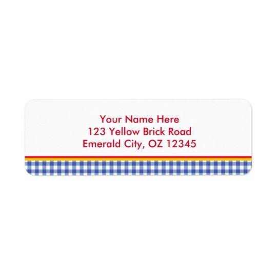 Ozの青いギンガムの誕生会の宛名ラベル ラベル
