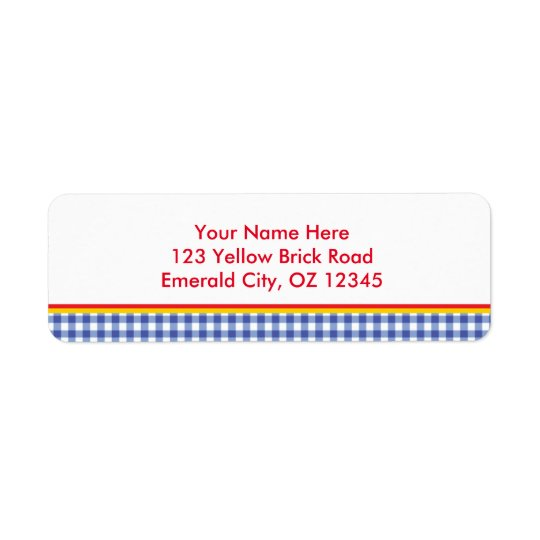 Ozの青いギンガムの誕生会の宛名ラベル 返信用宛名ラベル